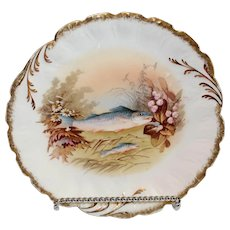 Limoge Hand Painted M R Fish Plate - 1891