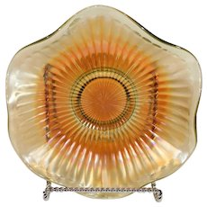 Iridescent Carnival Glass Ribbed Bowl - late 1800s