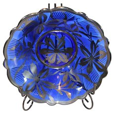 Cobalt Blue Centerpiece Bowl with Silver Overlay - early 1900s