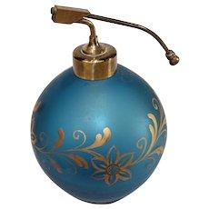 Vintage Satin Blue Perfume with Atomizer Top - circa 1930s