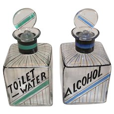 Pair of Czechoslovakian Art Deco Dresser Bottles - 1918-1938