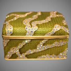 Berebi Gold Plated Swarovski Crystal/Lime Colored Enameled  Box - 1980s