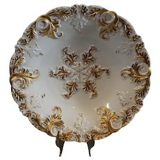 Antique Meissen Gold Encrusted Bowl - 1840-1865 Double Sword Mark - MINT