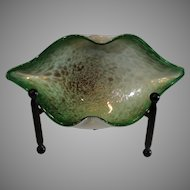 Hand Blown Murano Glass Oval Bowl - Vintage 1960s