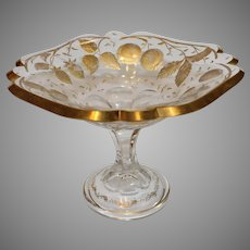 English Cut Crystal Comport with Gold Overlay - circa early 1900s