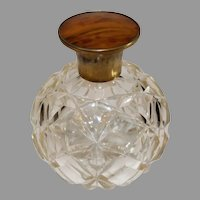 Vintage Pressed Glass Perfume with Copper and Inlayed Stopper