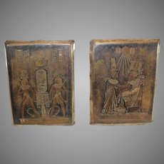 3 Copper Wall Plaques with Egyptian Figures - circa 1950s