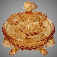 1940s Westmorland Glass Amber Covered Candy Dish