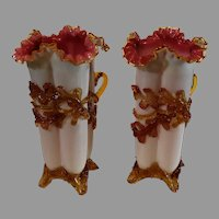 Antique Stevens and Williams Mantel Vases - Layer Glass with Feet - Circa 1890