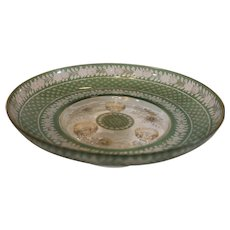Moser Footed Bowl - Green Cut to Clear - late 1800s
