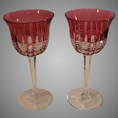 Waterford Crystal Ruby Cut to Clear Wine Glasses - Vintage 1980s