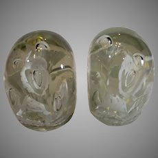 Pair of White and Crystal Clear Paperweights - Bookends - 1940s