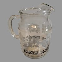1950s Dogwood Water Pitcher - Pressed Glass with White Dogwood Blossoms