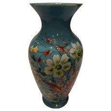 Vintage Hand Blown English Bristol Vase with Hand Painted Floral - early 1900s