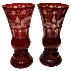 Antique Pair of Bohemian Ruby Cut to Clear Mantel Vases - late 1800s