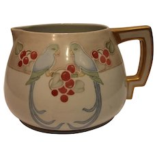 Vintage T K Czechoslovokian Pitcher with Hand Painted Parrots and Red Cherries - 1890 - 1920