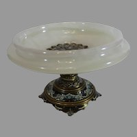 Antique French Champleve/Marble Centerpiece Comport from the 1800s