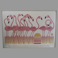 Rare,  IKKI MATSUMOTO, signed Lithograph -SANIBEL - Captiva Islands, Florida - FLAMINGOS