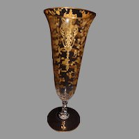 Cambridge Gold Encrusted Rosepoint Key Hole Vase - 1935-1954 MINT - 12 3/8 inches