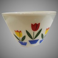 Fireking Large Ivory Tulip Mixing Bowl - 1940-50s