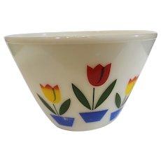 Fireking Large Ivory Tulip Mixing Bowl - 1940-50s