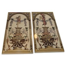 Vintage English Classical Tiles - Set of 4 - 2 Scenes