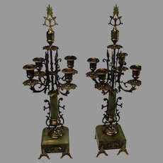 19th Century Italian Parcel of Gilt Bronze and Marble Candelabrae - 5 Lite