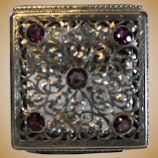Sterling Silver Victorian Pill Box with 5 Amethyst Jewels - late 1800s