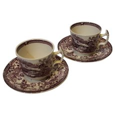 Set of Clarise Cliff Tea Cups with Saucers - Staffordshire, England - Tonquin Purple