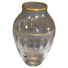 Val St Lambert Crystal Cut Vase - Vintage with Gold Trim
