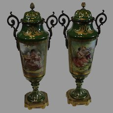 19th Century Sevres Mantel Urns with Heavy Ormolu and Paintings by C. Rochette -1800s