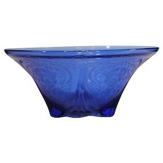Royal Lace Cobalt Blue Depression Glass Bowl - 1934