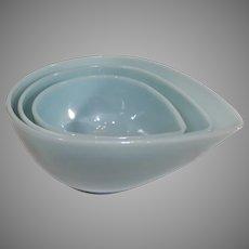Fire King Delphite Blue Mixing Bowls - 1950s