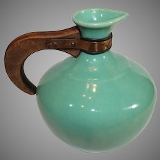 Bauer Wooden Handle 6 Cup Coffee Server - Green . 1940s