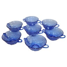 Royal Lace Cobalt Blue by Hazel Atlas - Double Handled Soup Bowls - 7