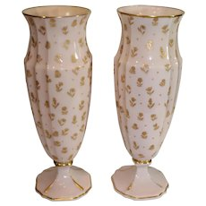 Pair of Tall Cambridge Crown Tuscan Vases in Chinz Pattern -1940s
