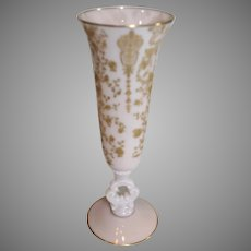 Cambridge Crown Tuscan 10 inch Rose Point Vase - 1930-40s
