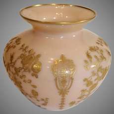 Cambridge Crown Tuscan Rose Bowl with Rose Point Gold Encrusted Design