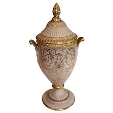 Rare Cambridge Crown Tuscan Candlelight Covered Urn - Gold Encrusted - 1930s