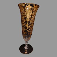 Cambridge Rose Point Key Vase with Gold Encrusted Vase - 1930-40s