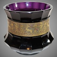 Moser Art Glass Amethyst Centerpiece Bowl with Gold Banding - Czechoslovokian 1920-30s