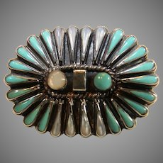 Vintage Turquoise/Mother of Pearl Zuni Sterling Silver Ring