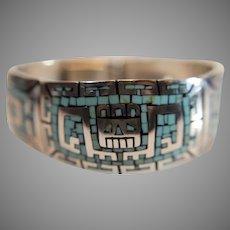 Vintage Sterling (950) Aztec Style Turquoise Inlaid Bracelet