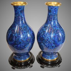 Pair of Vintage Chinese Cloisonne Baluster Vases in Cobalt Blue Enamels