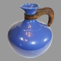 Bauer Monterray Cobalt Blue 8 Cup Coffee Server with Wooden Handle - 1940s