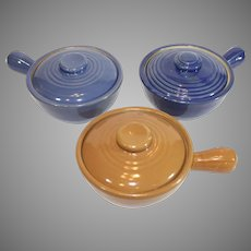 Set of USA California Pottery Covered Soup Bowls - 1940s