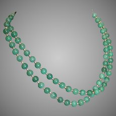 Vintage Double Stranded Jade Necklace with 10 k Gold Chain and Beads