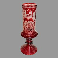 Bohemian Egenmann Style Footed Ruby Cut to Clear Crystal Vase - c. 1890s