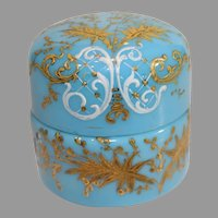 Moser French Blue Covered Box - c. 1880-1916