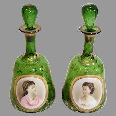 Rare Pair of Moser Portrait Dresser Bottles - 1880-1890